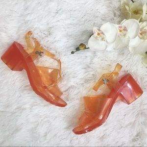 AMERICAN APPAREL Orange Jelly Sandal Heels 7
